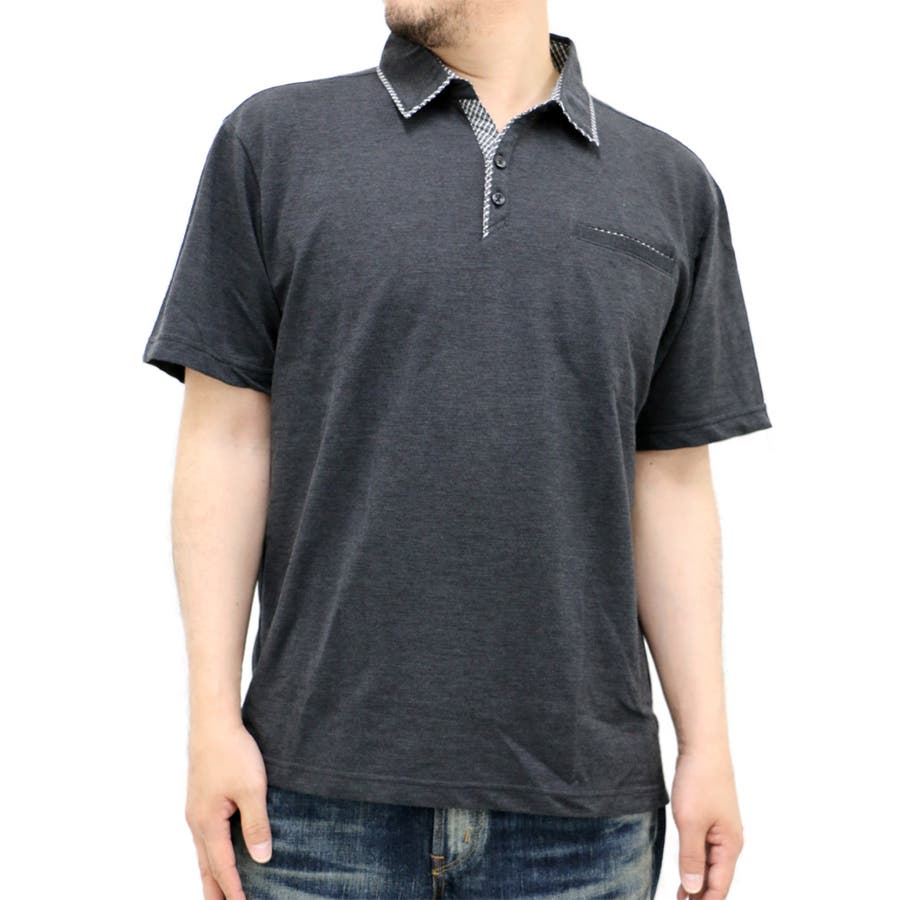 ほぼ毎日着てるのでもっと欲しいです 大きいサイズ メンズ ポロシャツ半袖 キングサイズ 2L 3L 4L 5L  きれいめ 清潔感 シンプル ボタン ポケット 衿 チェック 具有