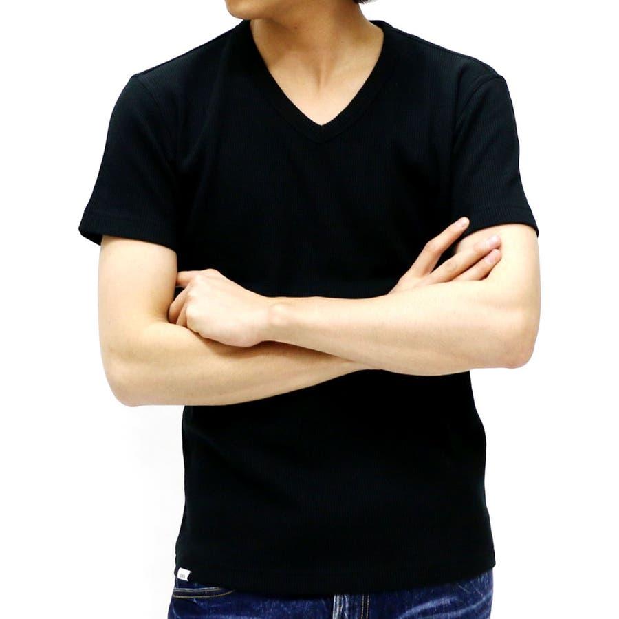どんなコーデ/styleにも合わせ易い エドウィン Tシャツ メンズ Vネック ストレッチ ワッフル Tシャツ 半袖  EDWIN カットソー ティーシャツ 無地 アメカジサーマル XL LL 轟音