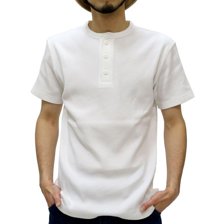 着心地バツグン エドウィン Tシャツ メンズ ヘンリーネック ストレッチ ワッフル Tシャツ 半袖  EDWIN カットソー ティーシャツ 無地アメカジ サーマル XL LL 男親