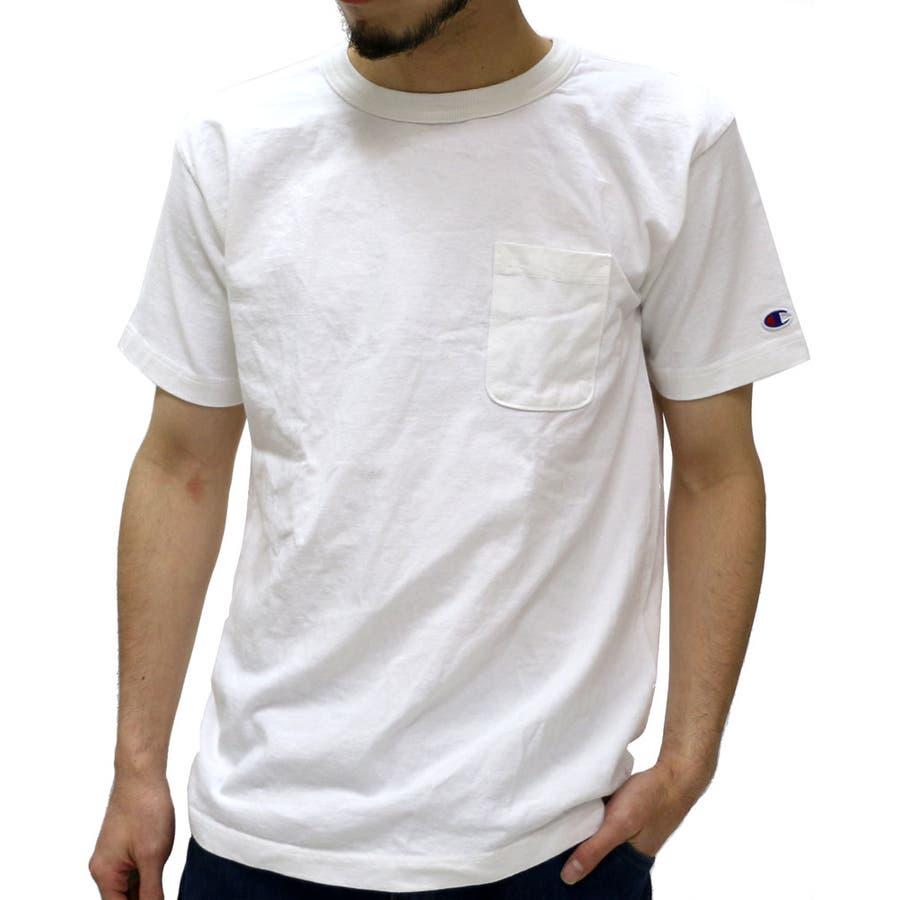 ついついヘビロテ メンズファッション通販チャンピオン Tシャツ メンズ ポケット Tシャツ 半袖 T-1011  Champion ティーシャツ ビー アメリカ製 USAスポーツ ストリート アメカジ クルー ポケット Tシャツ コットン 綿 無地 T-1011 害悪