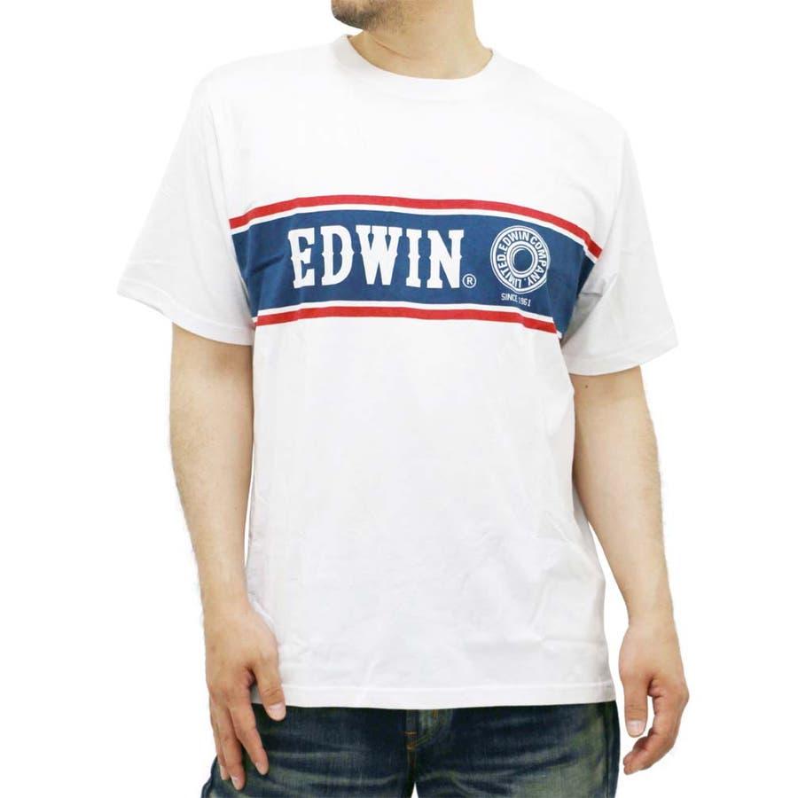 大人っぽく見えてとってもいい 大きいサイズ メンズ Tシャツ 半袖EDWIN キングサイズ 2L 3L 4L 5L  エドウィン プリント ロゴ ライン パネル ジーンズ デニム 営営