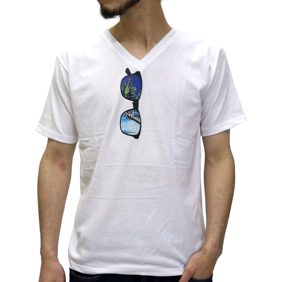 得した気分です! メンズファッション通販Vネック Tシャツ メンズ リゾート サングラス プリント Tシャツ 半袖  サングラス柄 ストリート サングラス Tシャツ VネックTシャツメンズ フェイク サングラス XL LL ティーシャツ カットソー 恵雨