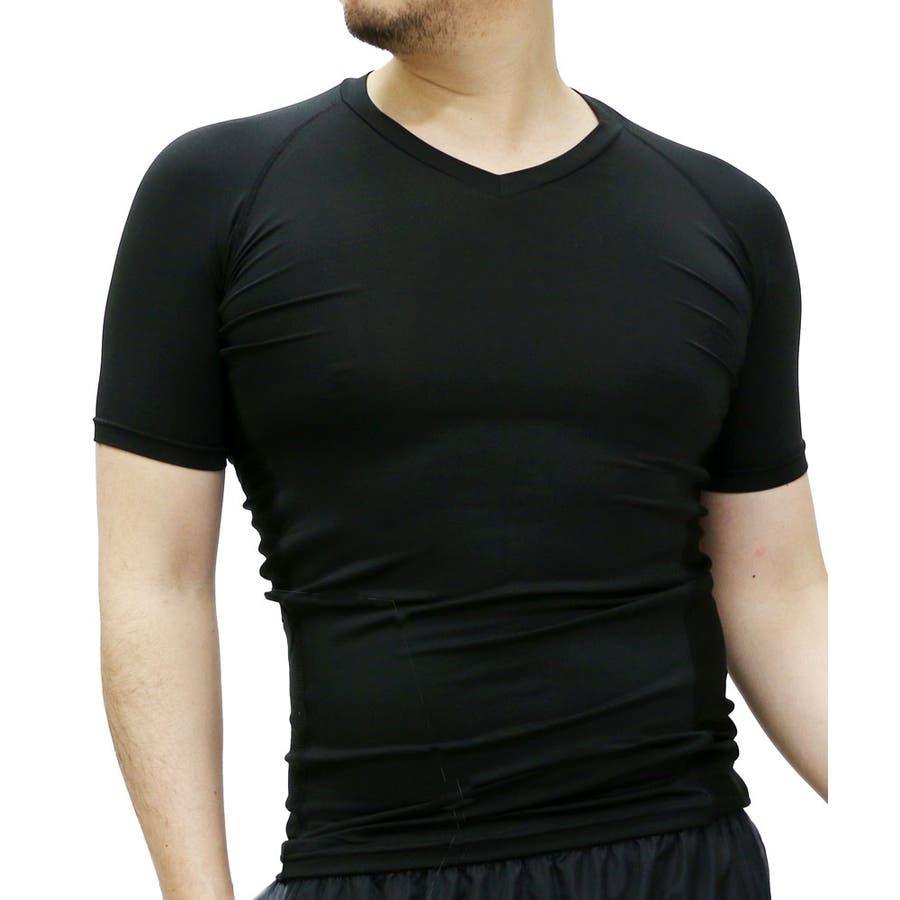 なんにでも合わせやすい メンズファッション通販コンプレッション インナー Vネック 半袖  スポーツインナー トレーニング ライトコンプレッション 吸汗速乾 接触冷感 消臭UVカット スポーツ ランニング トレーニング ウェア インナー 抜粋