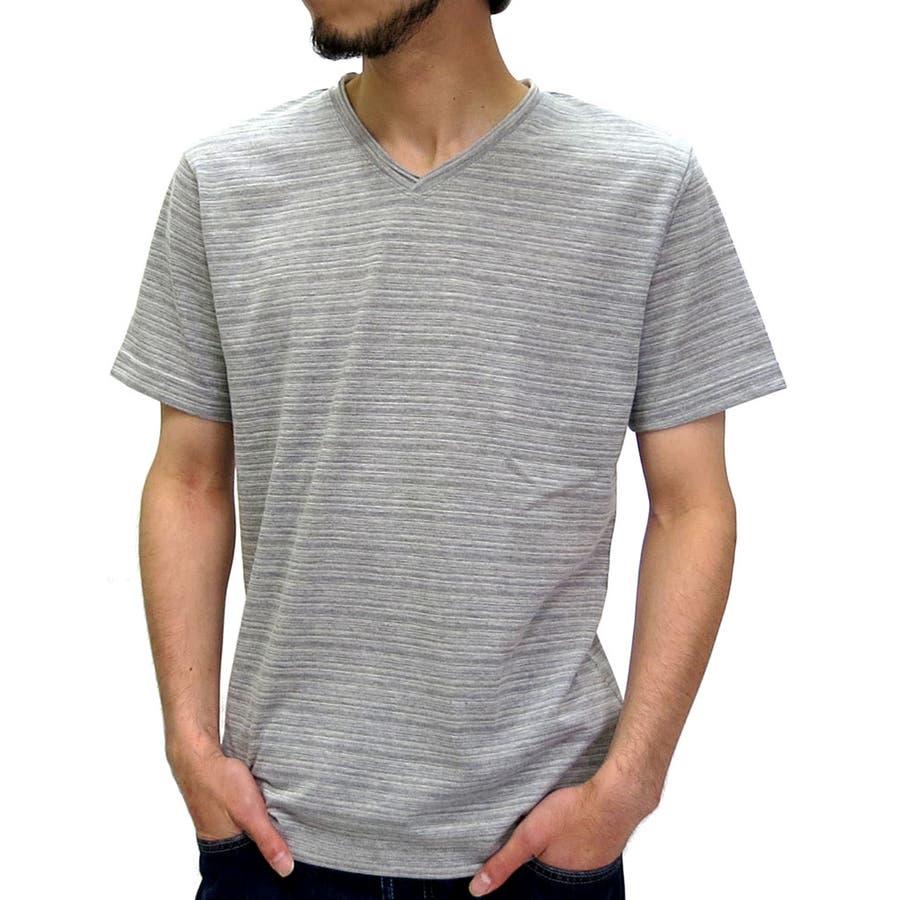 オシャレが楽しくなる メンズファッション通販Vネック Tシャツ メンズ 杢ボーダー 無地 Tシャツ 半袖 カットソー   無地 Tシャツ Vネック Tシャツ 杢 ボーダーTシャツ Vネック無地 XL LL ティーシャツ カットソー Tシャツメンズ カジュアル 安泰