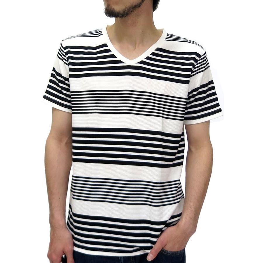 おしゃれを楽しめます! メンズファッション通販Vネック Tシャツ メンズ ランダムボーダー Tシャツ 半袖 カットソー  ボーダー Vネック Tシャツ カットソー ティーシャツXL LL Tシャツメンズ 劇的