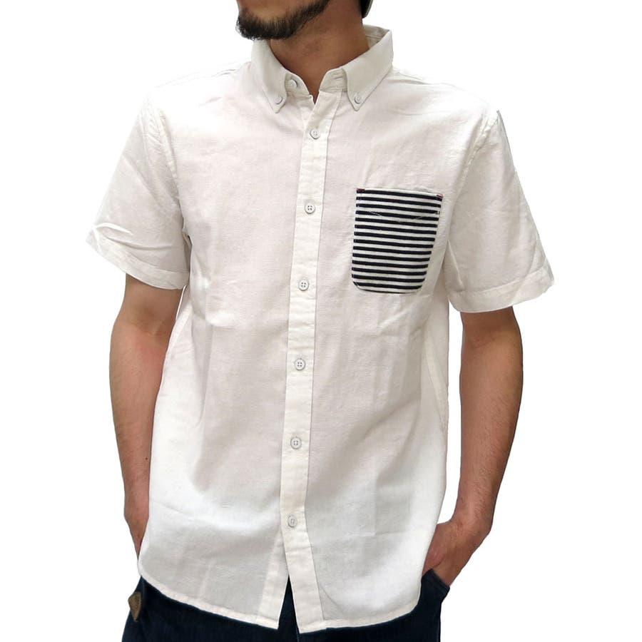 簡単に着こなせる メンズファッション通販ボタンダウン シャツ メンズ パナマ織り ボーダー ポケット 半袖シャツ  コットンシャツ 無地シャツ カジュアルシャツ XL LLシャツメンズ 夏 抜刀