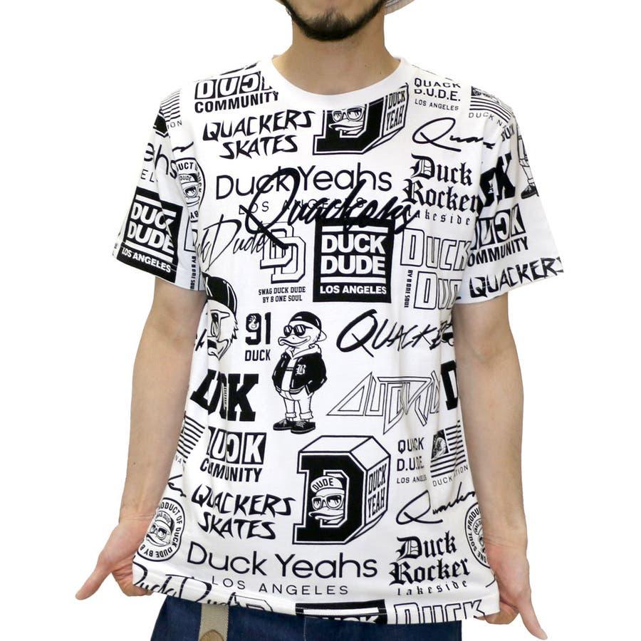 おしゃれを楽しめます! メンズファッション通販ビーワンソウル Tシャツ メンズ 総柄 ダックデュード プリント Tシャツ 半袖  B ONE SOUL DUCK DUDEストリート 白 黒 カジュアル ティーシャツ XL LL Tシャツメンズ 汚毒