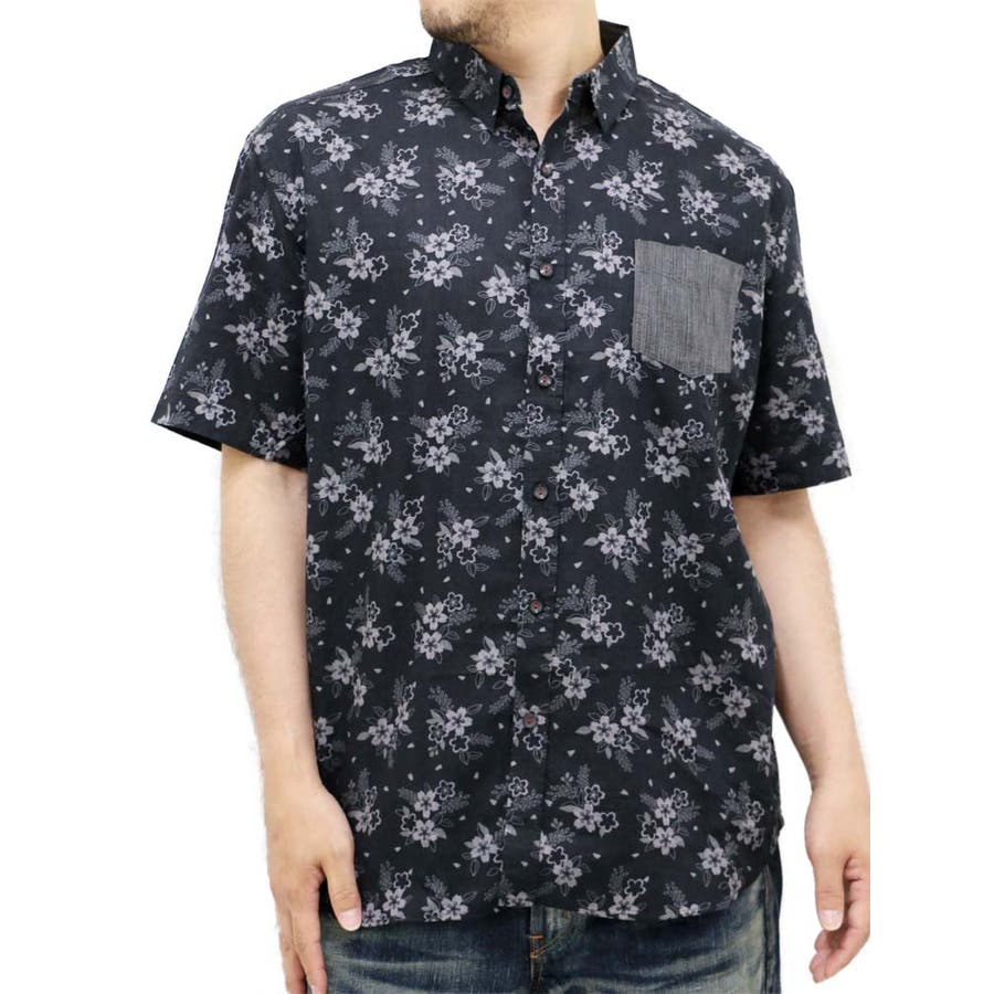 値段が安いのにとてもgood 大きいサイズ メンズ シャツ 半袖 キングサイズ 2L 3L 4L 5L 和柄 和風 和 花柄 フラワー 日本 Japon きれいめ 男時