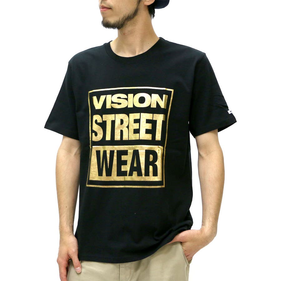 便利なアイテム ヴィジョン ストリート ウェアー Tシャツ メンズ 箔ロゴ プリント Tシャツ 半袖  VISION STREET WEARストリート カジュアル アメカジ スケボー XL LL Tシャツメンズ ティーシャツ 半袖 爆砕