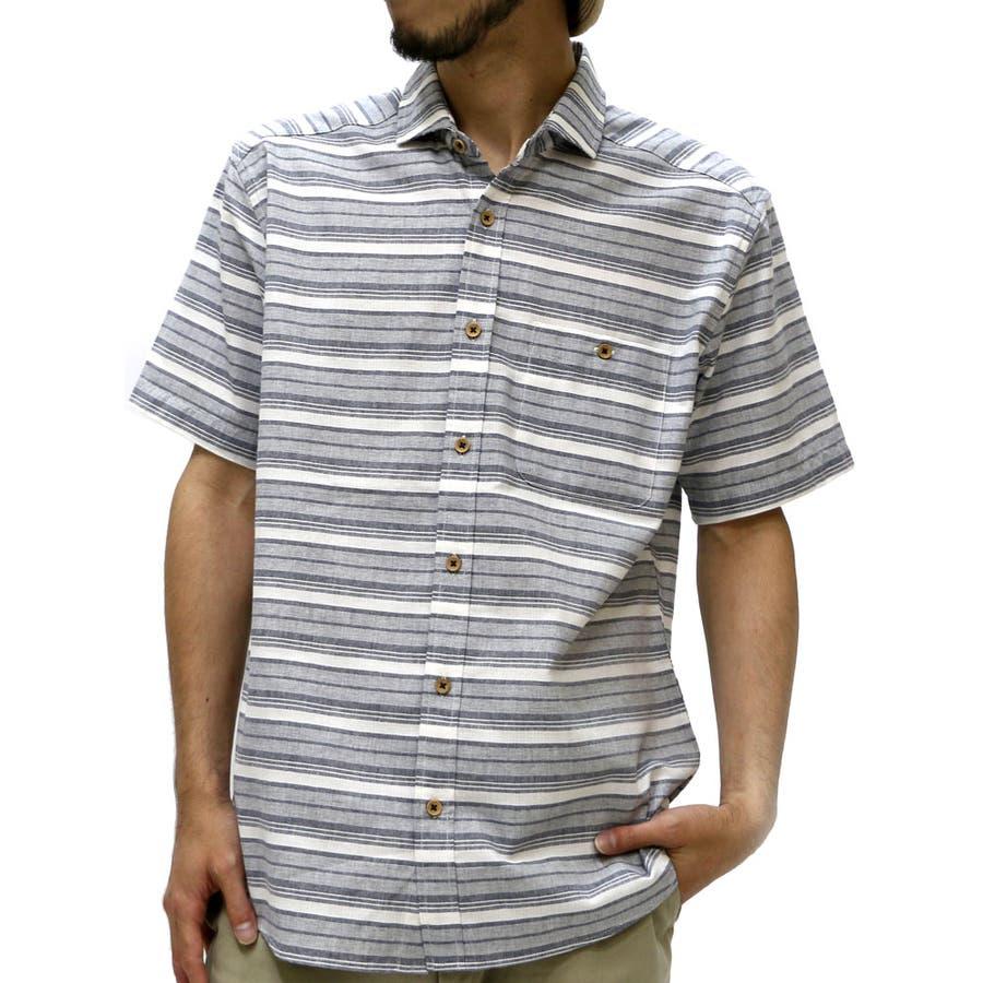 美シルエットを構築できる メンズファッション通販シャツ メンズ パナマ織り ボーダー ワイド衿 シャツ 半袖  コットンシャツ カジュアルシャツ ボーダーシャツ 半袖シャツシャツメンズ XL LL 夏 連合
