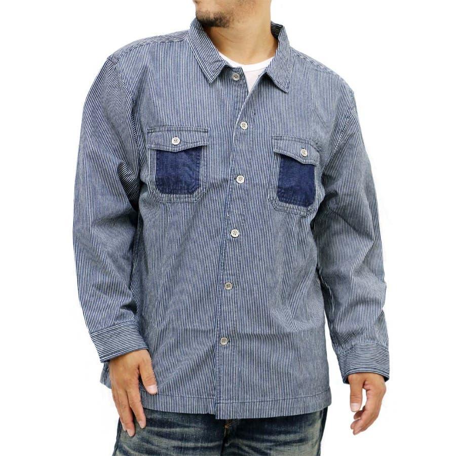 トレンドをキャッチ メンズファッション通販大きいサイズ メンズ シャツ 長袖 ヒッコリー ストライプ キングサイズ 2L 3L 4L 5L アメカジ ワークシャツ ワークメンズシャツ インディゴ 爆笑