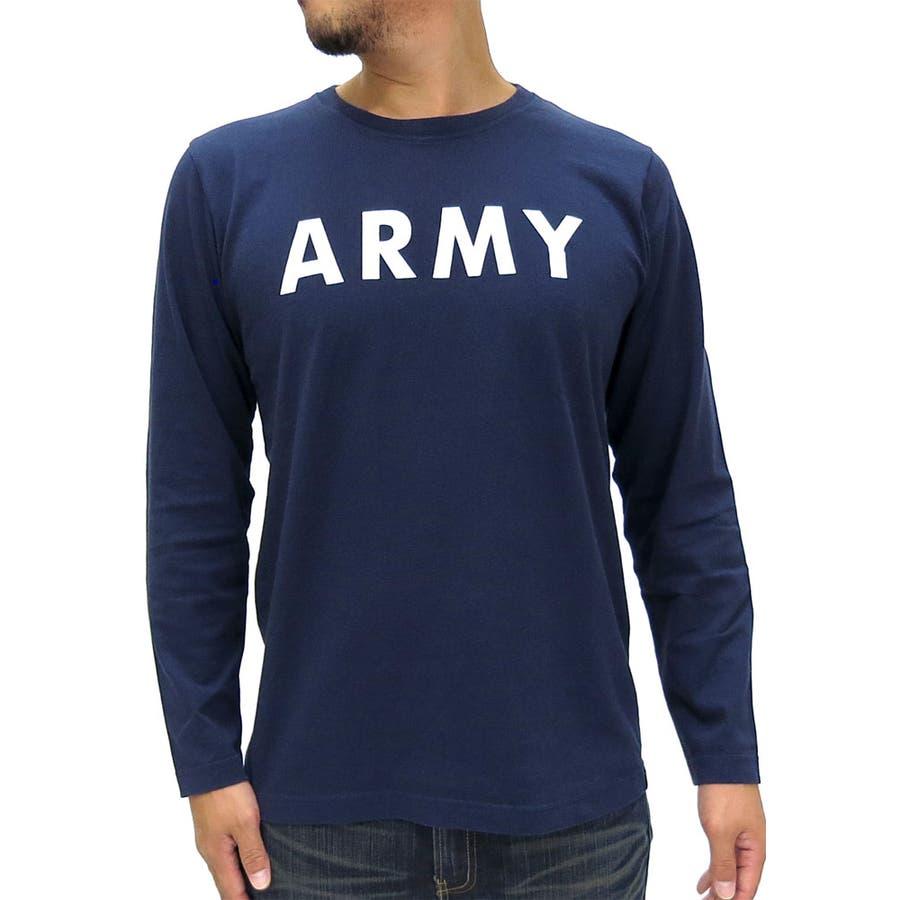 持っていて損ナシ! アルファ Tシャツ メンズ ARMY プリント 長袖 カットソー  ALPHA クルーネック ミリタリー ブランド アーミー Tシャツカットソー メンズ カジュアル XL LL ティーシャツ メンズ ファッション 依然