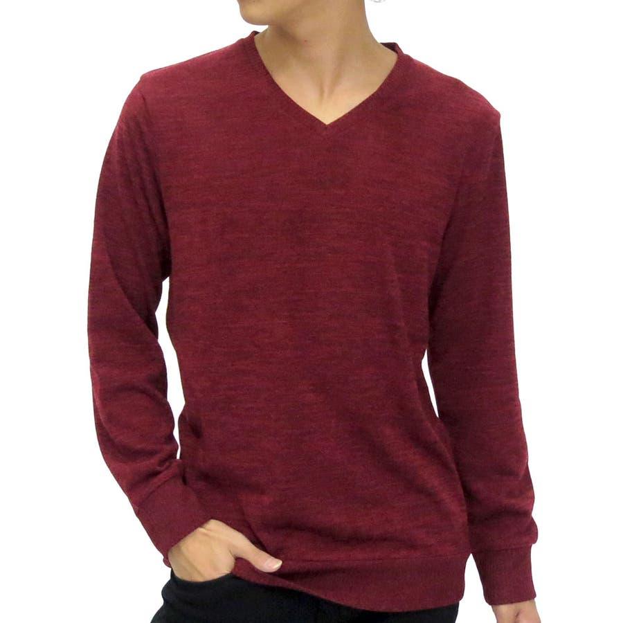 どんな服にも合わせやすいので重宝します カットソー メンズ Vネック 無地 長袖 ニットソー  Tシャツ カジュアル 薄手 秋冬 セーター XL LL ニットソーメンズファッション 抜擢