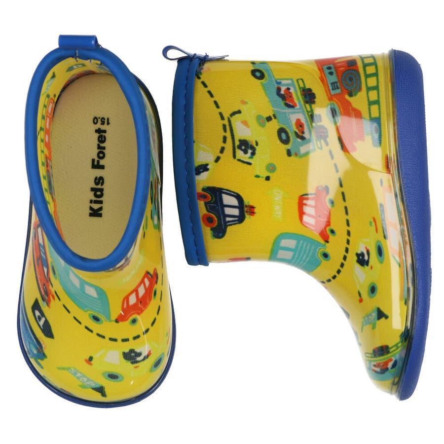 【子供服】 Kids Foret (キッズフォーレ) 車・恐竜総柄レインシューズ 14cm〜20cm B81862 2