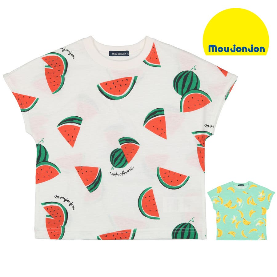 【子供服】 moujonjon (ムージョンジョン) 日本製スイカ・バナナ総柄半袖Tシャツ 80cm〜120cm M32861 1