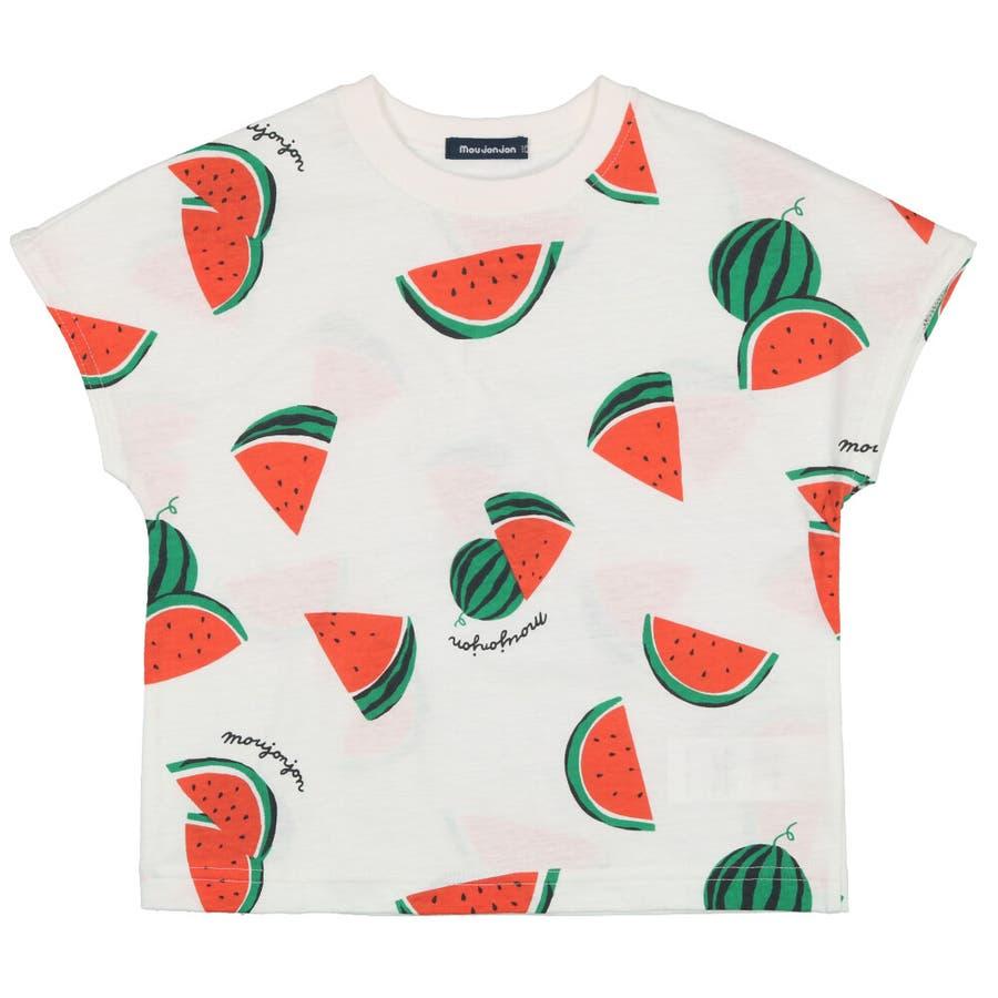 【子供服】 moujonjon (ムージョンジョン) 日本製スイカ・バナナ総柄半袖Tシャツ 80cm〜120cm M32861 2