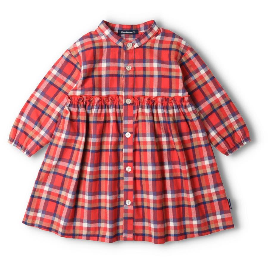 【子供服】 moujonjon (ムージョンジョン) チェックシャツワンピース 80cm〜140cm M52342 2