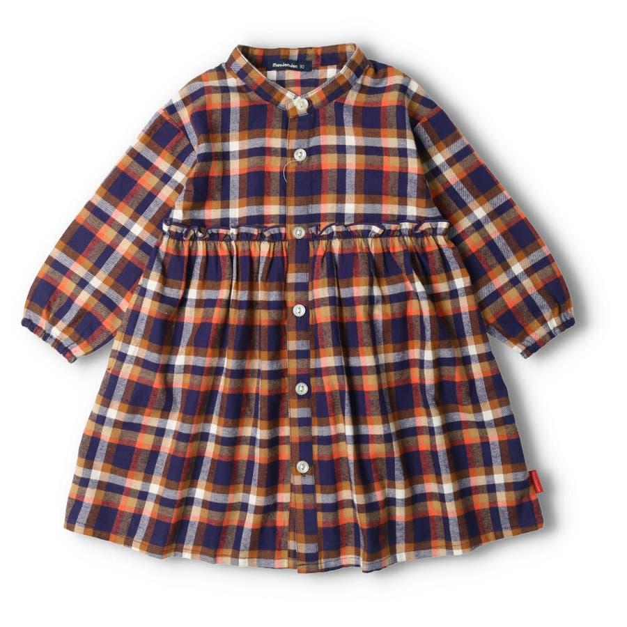 【子供服】 moujonjon (ムージョンジョン) チェックシャツワンピース 80cm〜140cm M52342 3