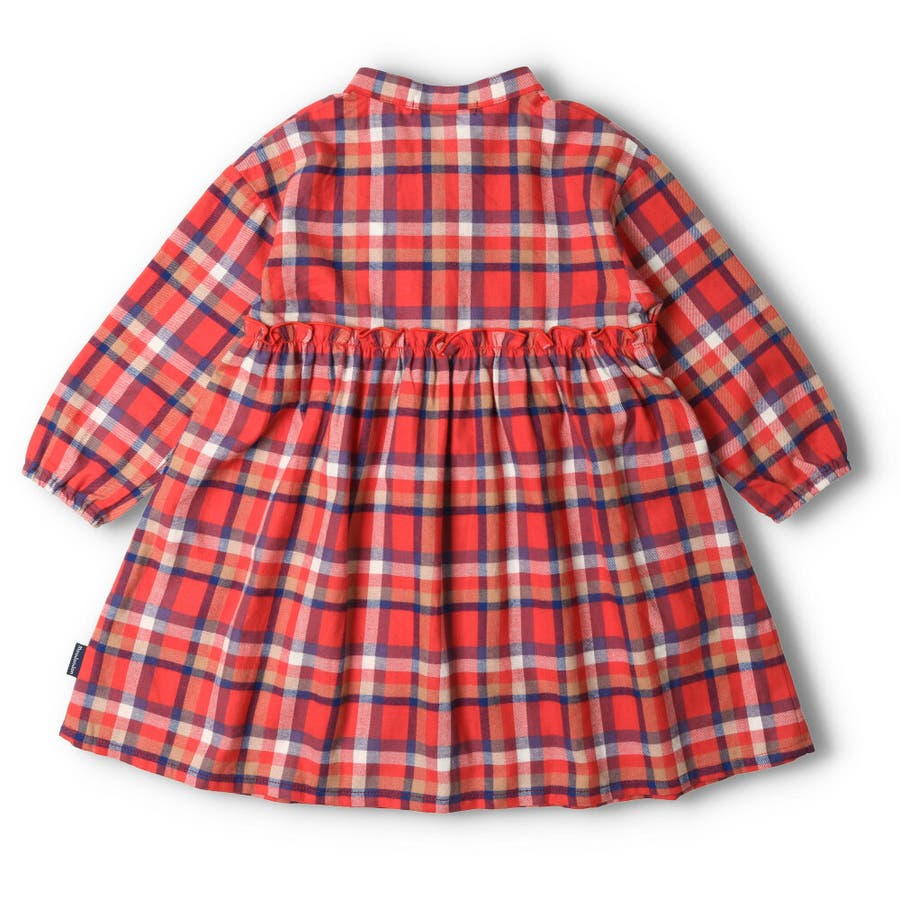 【子供服】 moujonjon (ムージョンジョン) チェックシャツワンピース 80cm〜140cm M52342 4