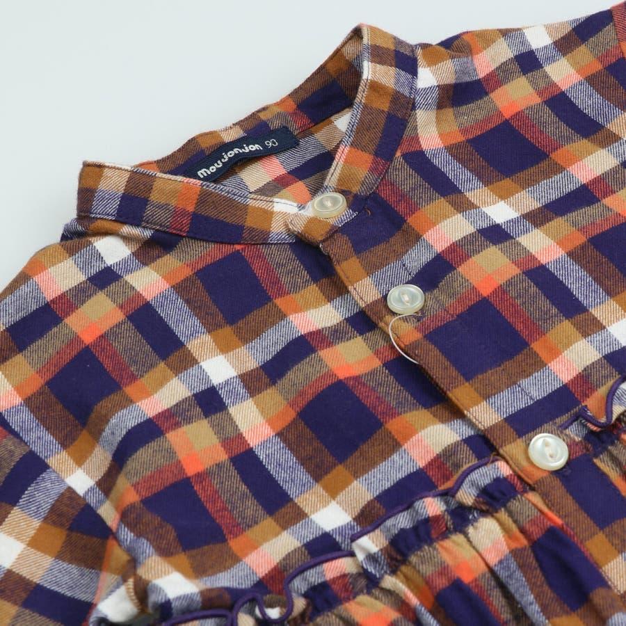 【子供服】 moujonjon (ムージョンジョン) チェックシャツワンピース 80cm〜140cm M52342 5