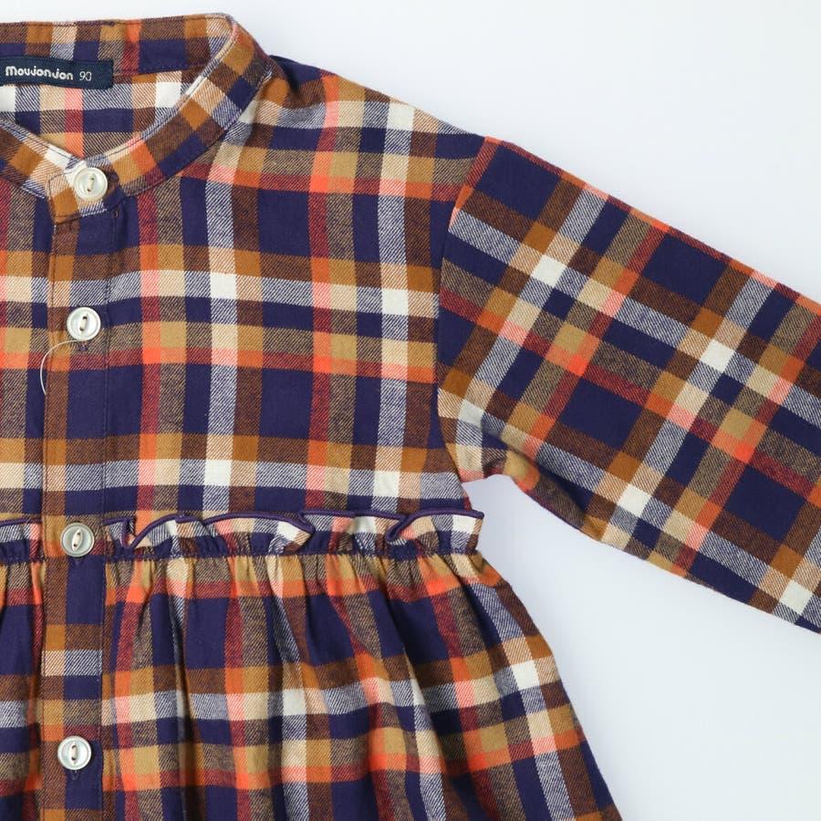 【子供服】 moujonjon (ムージョンジョン) チェックシャツワンピース 80cm〜140cm M52342 6