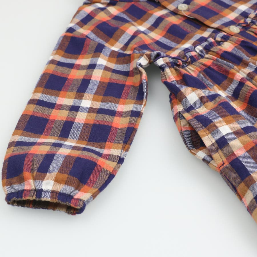 【子供服】 moujonjon (ムージョンジョン) チェックシャツワンピース 80cm〜140cm M52342 7