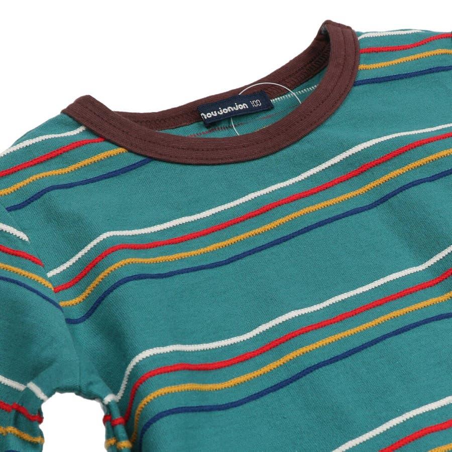 【子供服】 moujonjon (ムージョンジョン) リップルボーダーTシャツ 80cm〜140cm M52822 5
