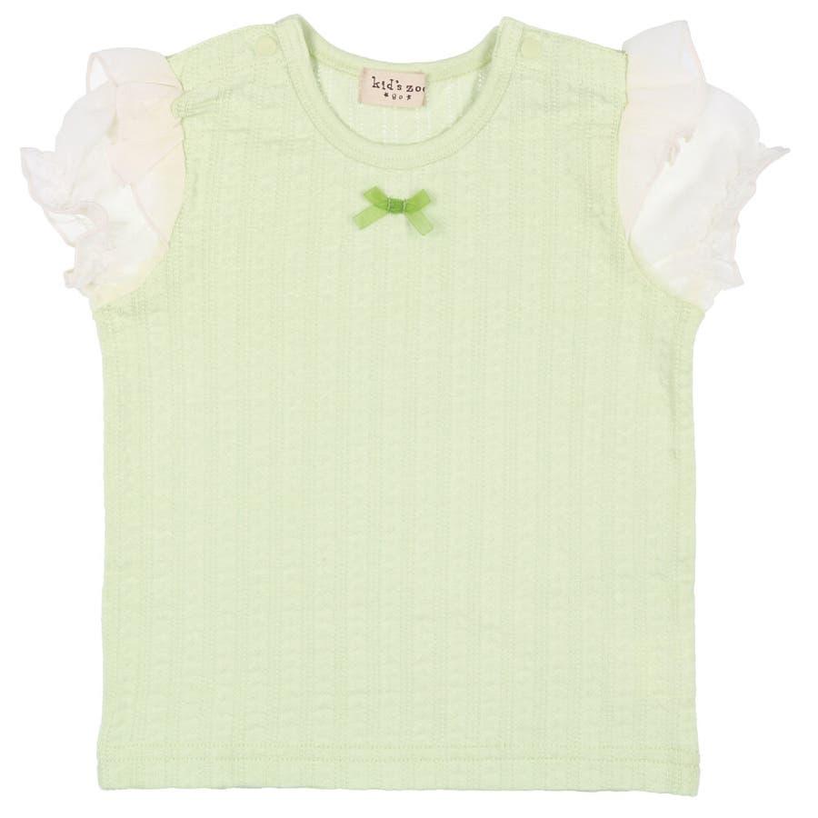 【子供服】 kids zoo (キッズズー) メッシュジャガードパフスリーブTシャツ 70cm〜95cm W22811 4