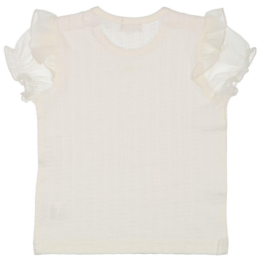 【子供服】 kids zoo (キッズズー) メッシュジャガードパフスリーブTシャツ 70cm〜95cm W22811 5