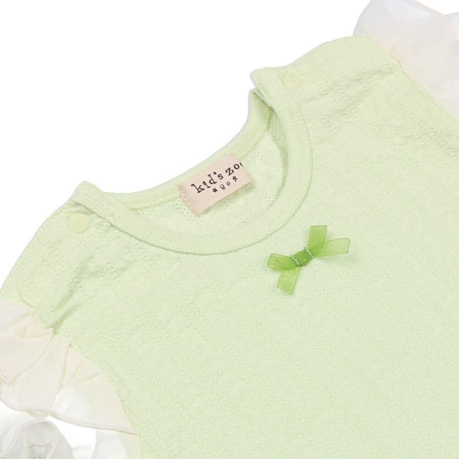 【子供服】 kids zoo (キッズズー) メッシュジャガードパフスリーブTシャツ 70cm〜95cm W22811 6