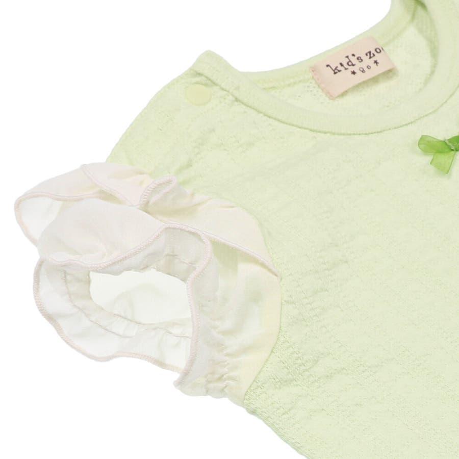 【子供服】 kids zoo (キッズズー) メッシュジャガードパフスリーブTシャツ 70cm〜95cm W22811 7