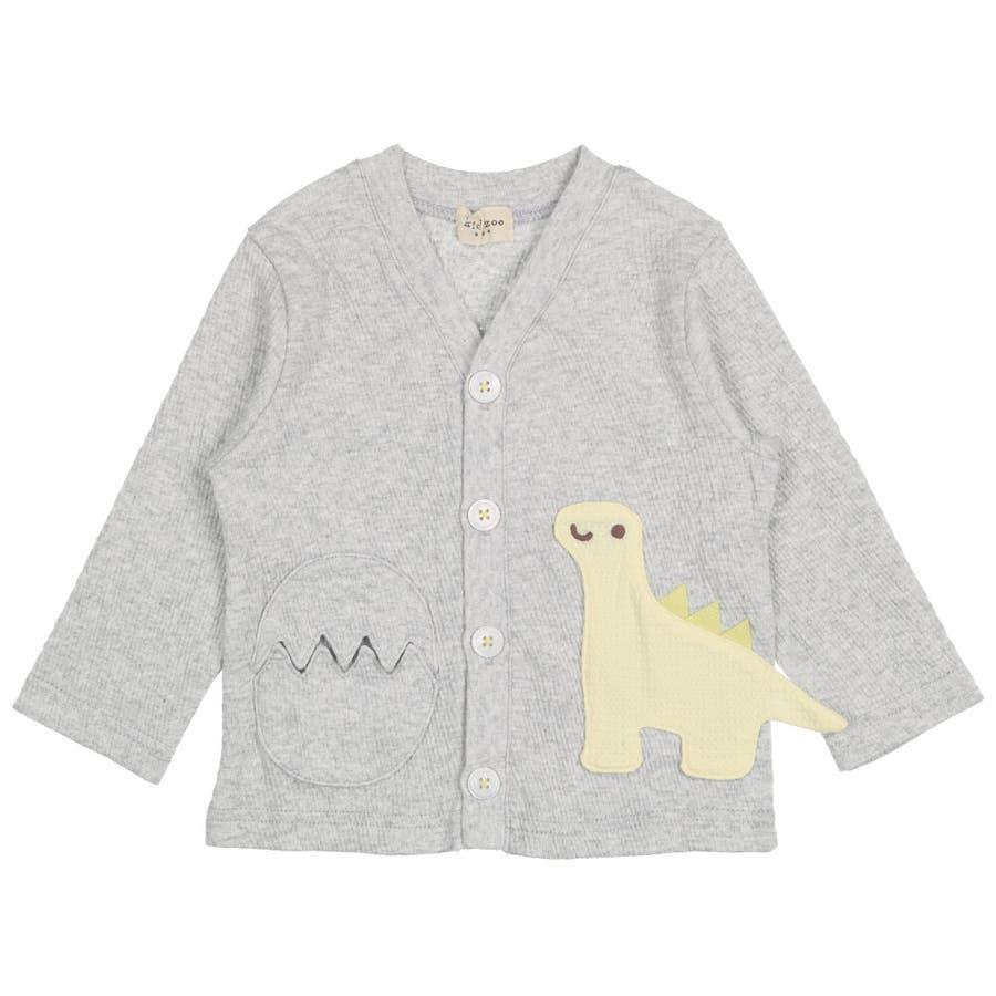 【子供服】 kids zoo (キッズズー) 恐竜アップリケたまごポケットカーディガン 70cm〜95cm W32410 2