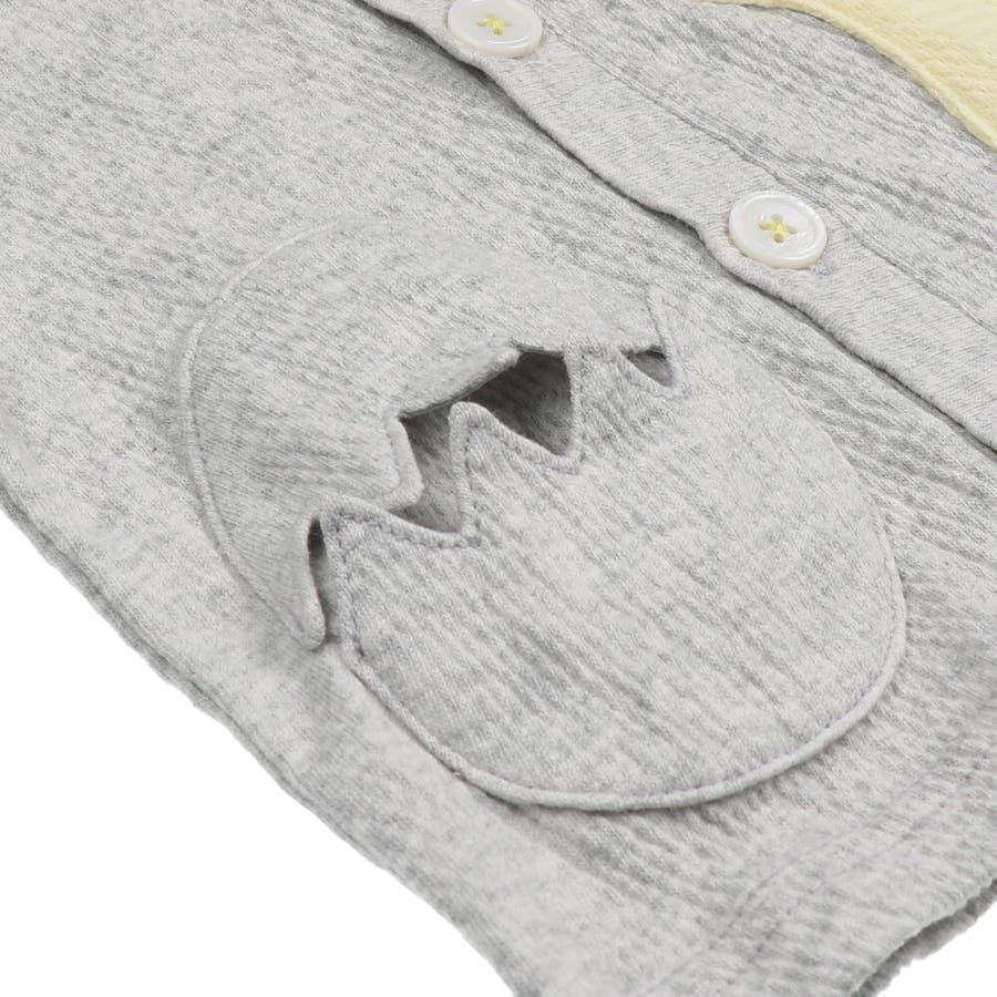 【子供服】 kids zoo (キッズズー) 恐竜アップリケたまごポケットカーディガン 70cm〜95cm W32410 8