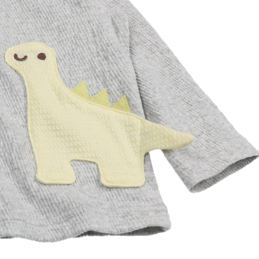 【子供服】 kids zoo (キッズズー) 恐竜アップリケたまごポケットカーディガン 70cm〜95cm W32410 9