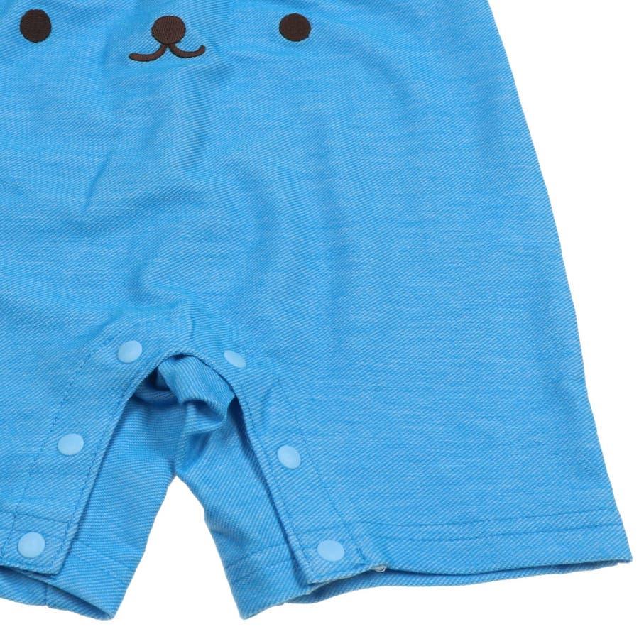 【子供服】 kids zoo (キッズズー) 半袖Tシャツ・くまオーバーオールセット 70cm〜95cm W32723 10
