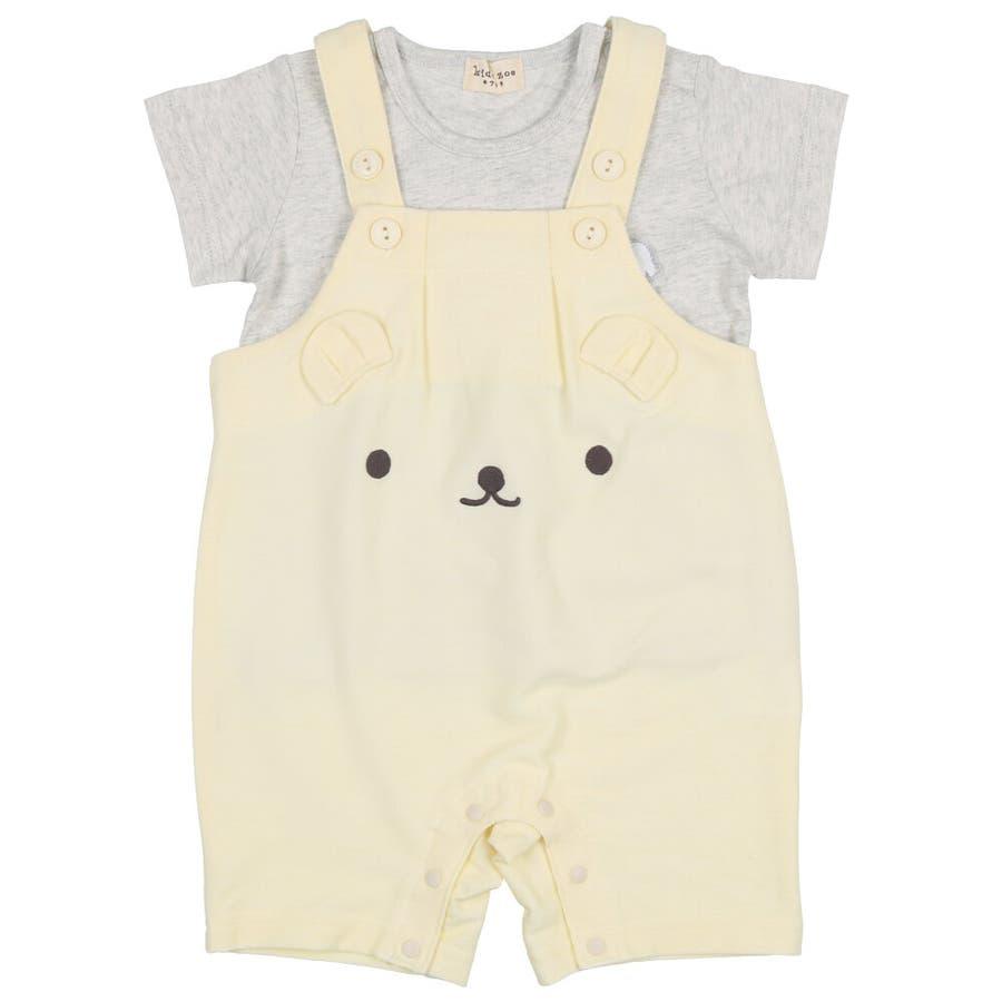 【子供服】 kids zoo (キッズズー) 半袖Tシャツ・くまオーバーオールセット 70cm〜95cm W32723 2