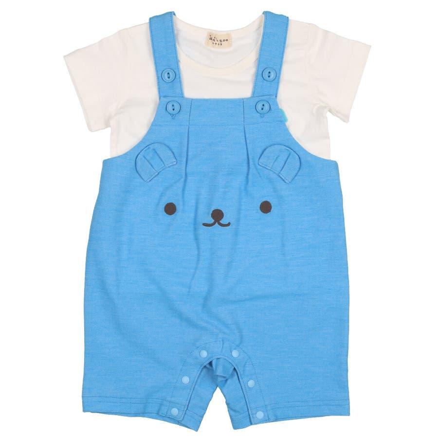 【子供服】 kids zoo (キッズズー) 半袖Tシャツ・くまオーバーオールセット 70cm〜95cm W32723 3