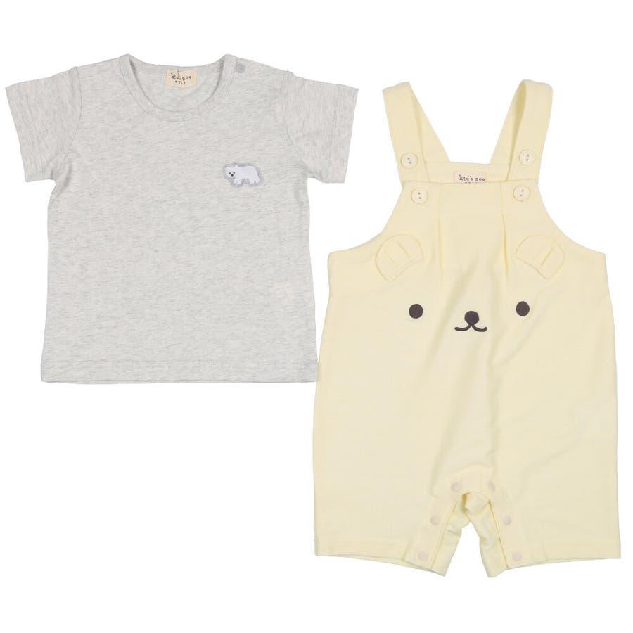 【子供服】 kids zoo (キッズズー) 半袖Tシャツ・くまオーバーオールセット 70cm〜95cm W32723 5