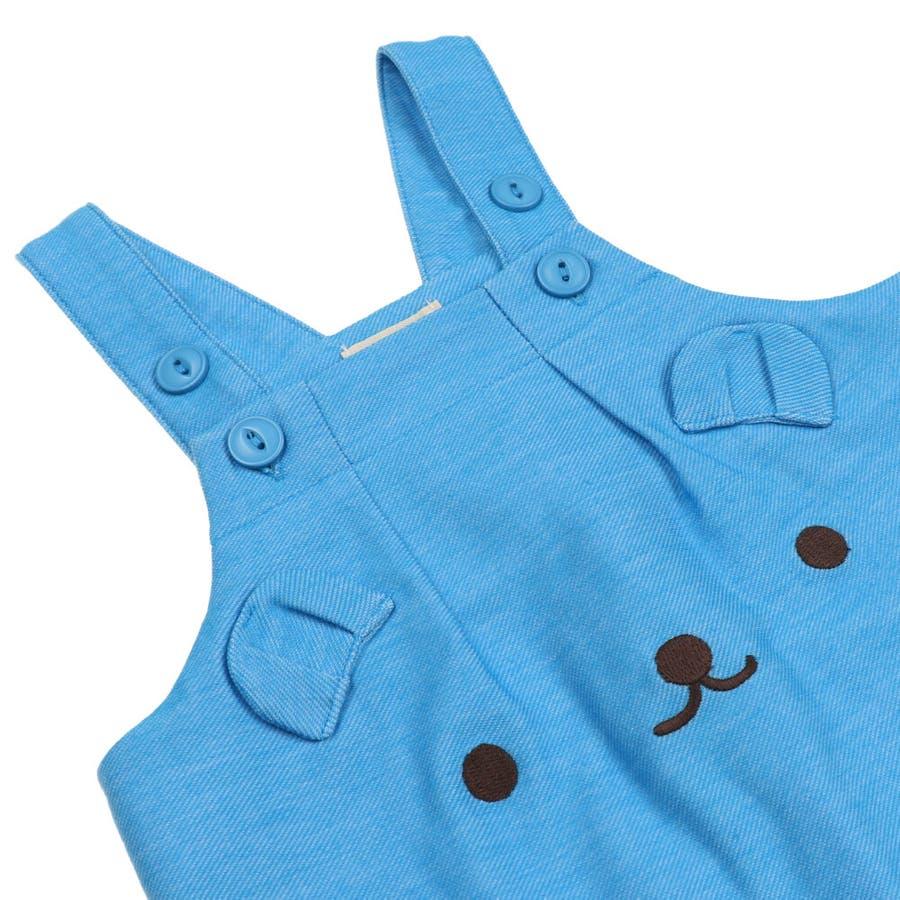 【子供服】 kids zoo (キッズズー) 半袖Tシャツ・くまオーバーオールセット 70cm〜95cm W32723 8