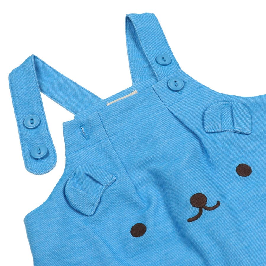 【子供服】 kids zoo (キッズズー) 半袖Tシャツ・くまオーバーオールセット 70cm〜95cm W32723 9