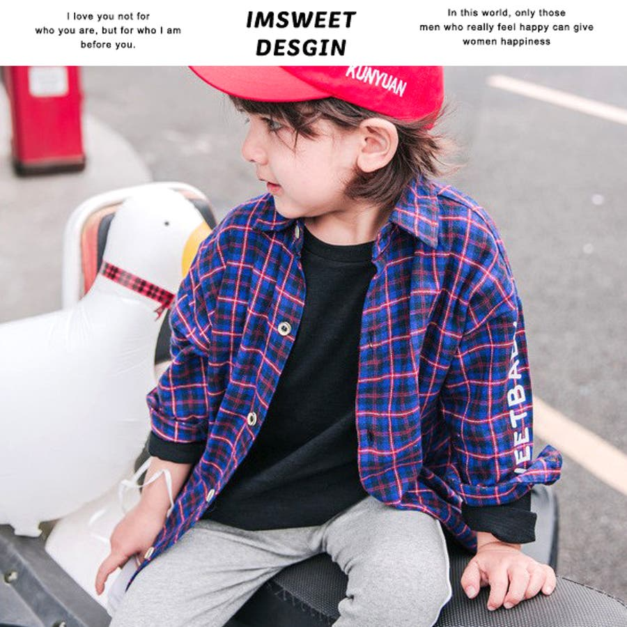 396bd09681143 ロング丈 チェックシャツ ビッグサイズ ニュースペーパープリント 子供服 ...