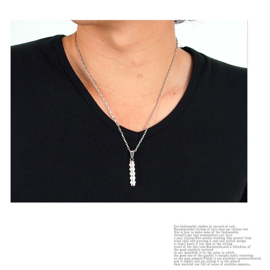 ネックレス メンズ シンプル プレート ネックレス クリスタルガラス ステンレス メンズジュエリー・アクセサリーネックレス・ペンダントメンズ
