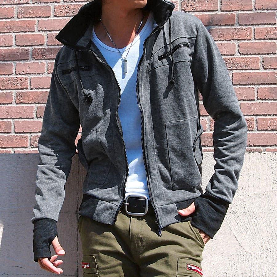 ミリタリージャケット メンズ ボリュームネック スウェット素材 W襟 ポンチスタンド 指穴付き WZIP アウター