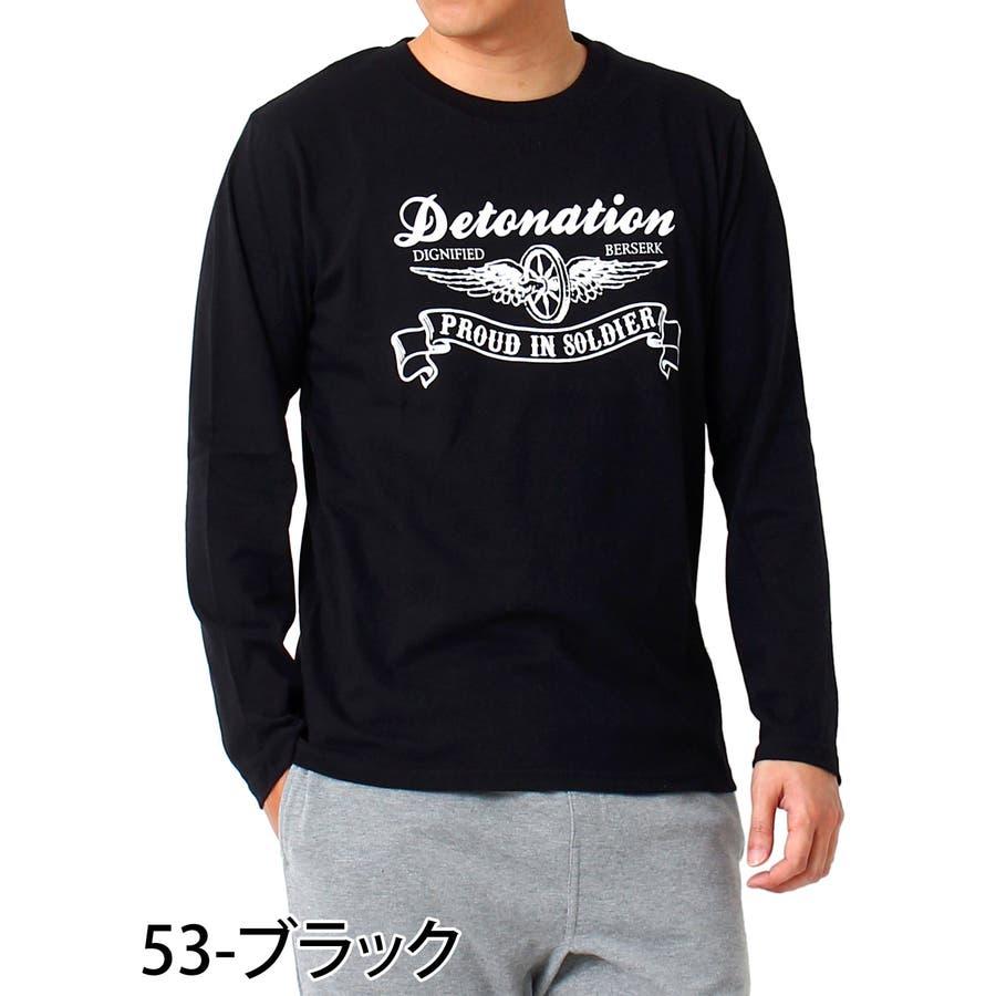 ロンT メンズ Tシャツ 長袖 ロングTシャツ ロゴ プリント コットン 綿 文字 ロゴ アメカジ カレッジ クルーネック トップスロゴT 通販 3