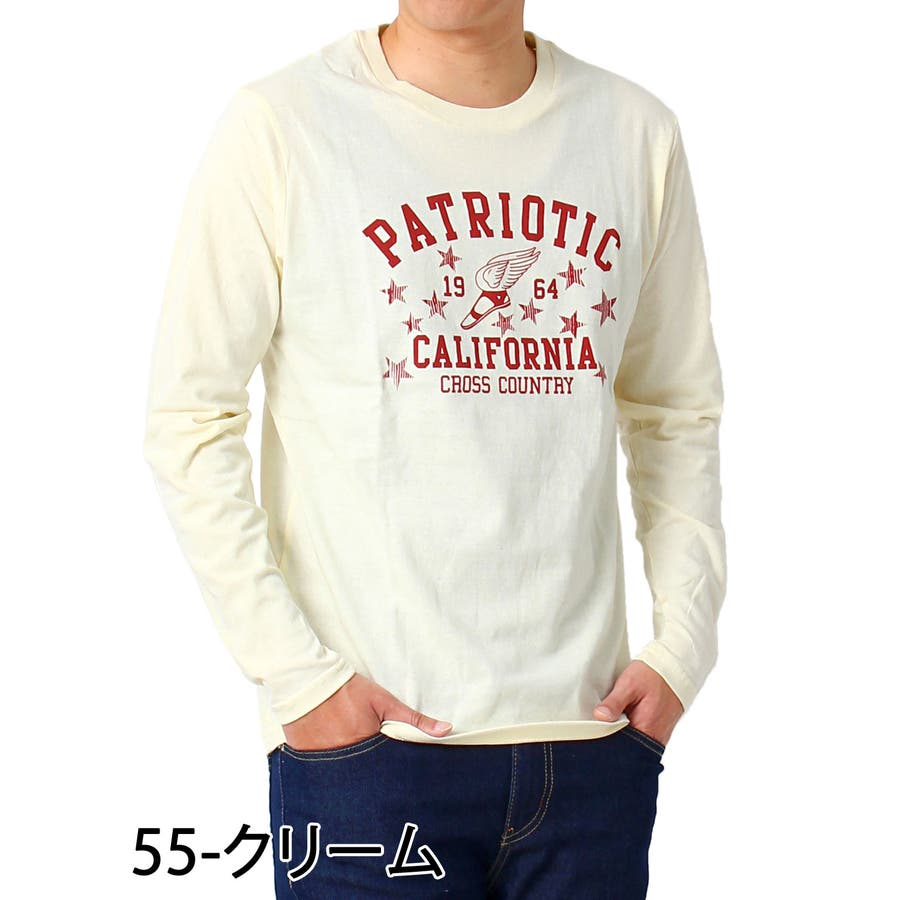 ロンT メンズ Tシャツ 長袖 ロングTシャツ ロゴ プリント コットン 綿 文字 ロゴ アメカジ カレッジ クルーネック トップスロゴT 通販 5
