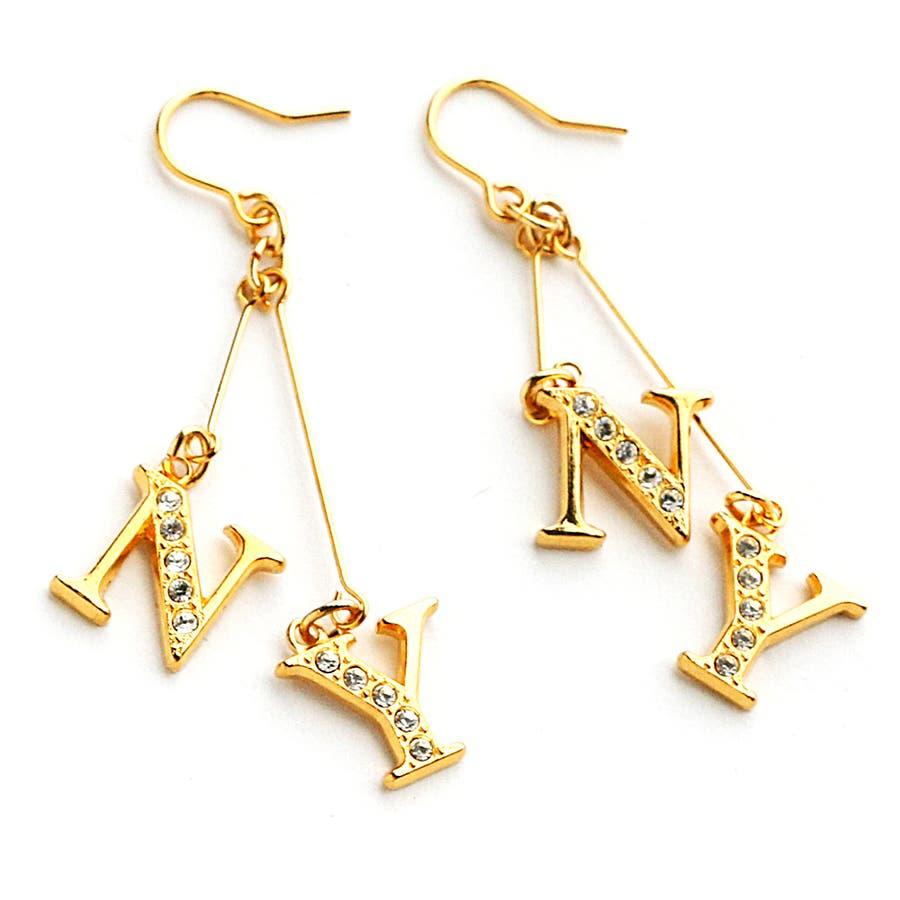 NY ロゴ ラインストーン 樹脂 ピアス ノンホールピアス ノンホールイヤリング ノントゥルー 金属アレルギー ダンス ロゴ, ニューヨークスタイル  レディース ブランド シンプル ゴールド シルバー イアリング ノンホール