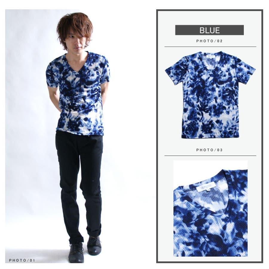 花柄 Tシャツ メンズ 半袖/メンズファッション/Vネック フラワー 総柄 カットソー