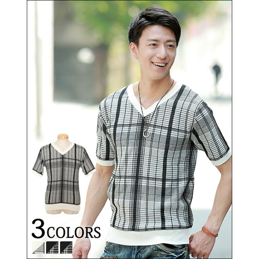 コスパいいです メンズファッション通販 繊細なデザインがシャレ感を作る♪ 編み込み半袖ニットソー 日本製 男主