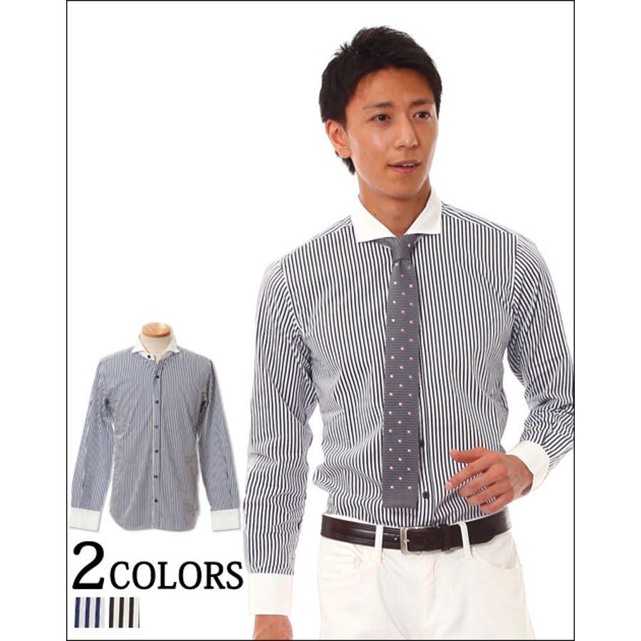 今の季節にぴったりの メンズファッション通販メンズ トップス シャツ 小振りなクレリック襟が作るシャレ男! ホリゾンタルカラークレリックビジカジストライプシャツ 日本製 Biz 必然