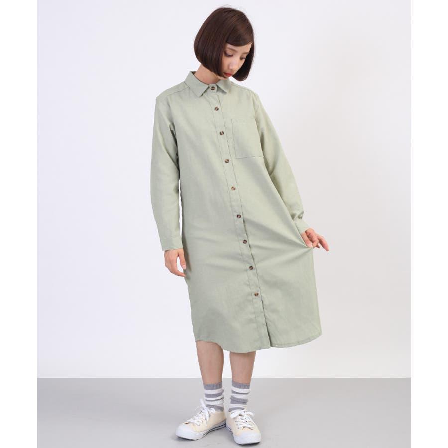 胸ポケットシャツワンピース3628-0108 倍増